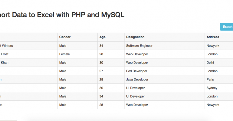 MyAppBuilder Tutorial:Export Data to Excel with PHP and MySQL